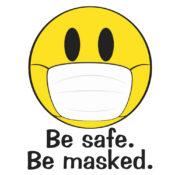 Be safe. Be masked. Illustrated Emoji
