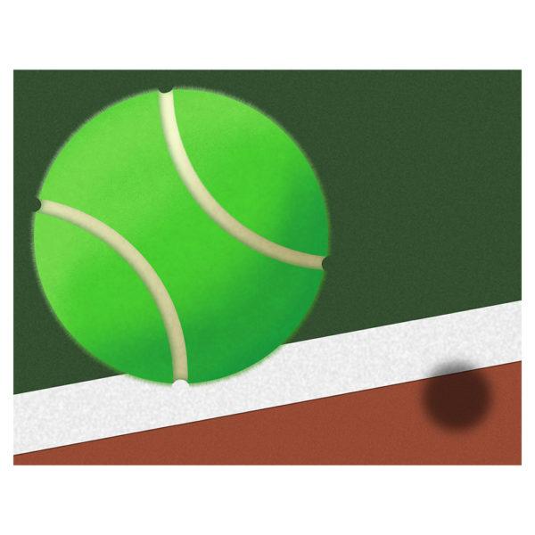 Tennis Ball and Tennis Court